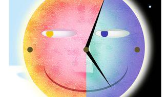 Illustration on daylight savings time by Alexander Hunter/The Washington Times