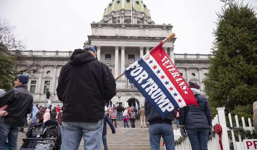 President Donald Trump supporters gather on the statehouse steps as the Pennsylvania House of Representatives are sworn-in, Tuesday, Jan. 5, 2021, at the state Capitol in Harrisburg, Pa. The ceremony marks the convening of the 2021-2022 legislative session of the General Assembly of Pennsylvania. (AP Photo/Laurence Kesterson)