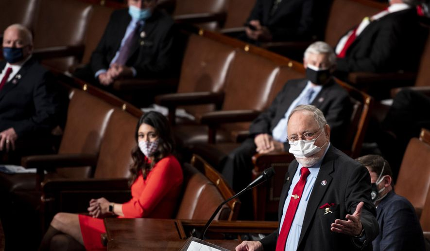 Rep. Don Young, R-Alaska, speaks on the House floor on opening day of the 117th Congress at the U.S. Capitol in Washington, Sunday, Jan. 3, 2021. (Bill Clark/Pool via AP)