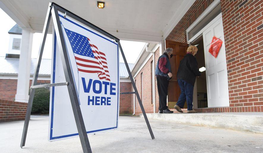 Photo by Matt Hamilton / Voters enter a polling place at Dawnville United Methodist Church in Dawnville, Ga., on Tuesday, Jan. 5, 2021. (Matt Hamilton/Chattanooga Times Free Press via AP)  **FILE**