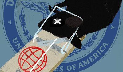 Illustration on DOD counterterrorism by Linas Garsys/The Washington Times