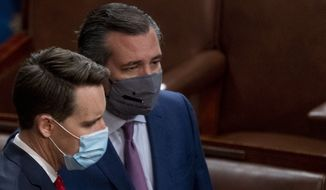 Sen. Josh Hawley, R-Mo., left, and Sen. Ted Cruz, R-Texas, right, speak after Republicans objected to certifying the Electoral College votes from Arizona, during a joint session of the House and Senate to confirm the electoral votes cast in November's election, at the Capitol, Wednesday, Jan 6, 2021. (AP Photo/Andrew Harnik) **FILE**
