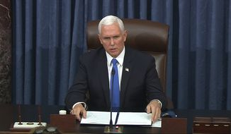 In this image from video, Vice President Mike Pence speaks as the Senate reconvenes after protesters stormed into the U.S. Capitol on Wednesday, Jan. 6, 2021. (Senate Television via AP)