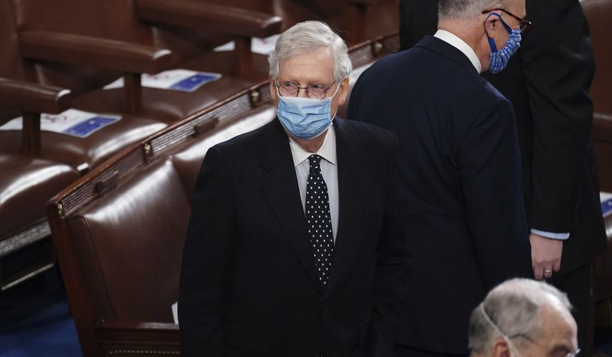 Senate Majority Leader Mitch McConnell of Ky., arrives as a joint session of the House and Senate convenes to confirm the Electoral College votes cast in November's election, at the Capitol in Washington, Wednesday, Jan. 6, 2021. (Kevin Dietsch/Pool via AP) **FILE**