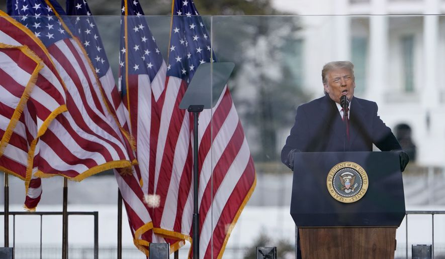 With the White House in the background, President Donald Trump speaks at a rally Wednesday, Jan. 6, 2021, in Washington. (AP Photo/Jacquelyn Martin) **FILE**