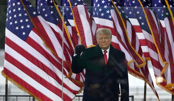 President Donald Trump arrives to speak at a rally Wednesday, Jan. 6, 2021, in Washington. (AP Photo/Jacquelyn Martin)