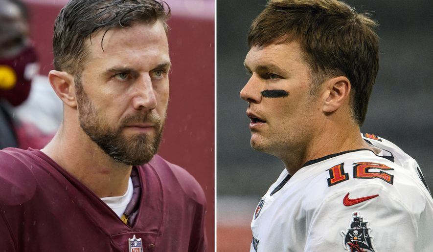 FILE - These are 2020 file photos showing Washington Football quarterback Alex Smith, left, and Tampa Bay  Buccaneers quarterback Tom Brady, right. Washington and Tampa play in an NFL Wild Card game on Saturday, Jan. 9, 2021. (AP Photo/File)