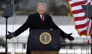 President Donald Trump speaks at a rally Wednesday, Jan. 6, 2021, in Washington. (AP Photo/Jacquelyn Martin)