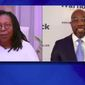 """""""The View"""" co-host Whoopi Goldberg on Wednesday cut Meghan McCain off from further pressing Sen.-elect Raphael Warnock, adding to an already bumpy start to Ms. McCain's return from maternity leave this week. (Screenshot via ABC)"""