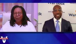 """The View"" co-host Whoopi Goldberg on Wednesday cut Meghan McCain off from further pressing Sen.-elect Raphael Warnock, adding to an already bumpy start to Ms. McCain's return from maternity leave this week. (Screenshot via ABC)"