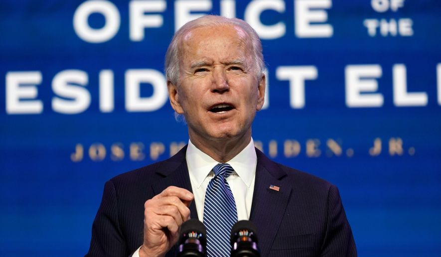 """""""No one can tell me that if it had been a group of Black Lives Matter protesting yesterday, they wouldn't have been treated very, very differently than the mob of thugs that stormed the Capitol,"""" President-elect Joseph R. Biden said. """"We all know that's true, and it is unacceptable."""" President-elect Joe Biden speaks during an event at The Queen theater in Wilmington, Del., Thursday, Jan. 7, 2021, to announce key nominees for the Justice Department. (AP Photo/Susan Walsh) (Associated Press)"""
