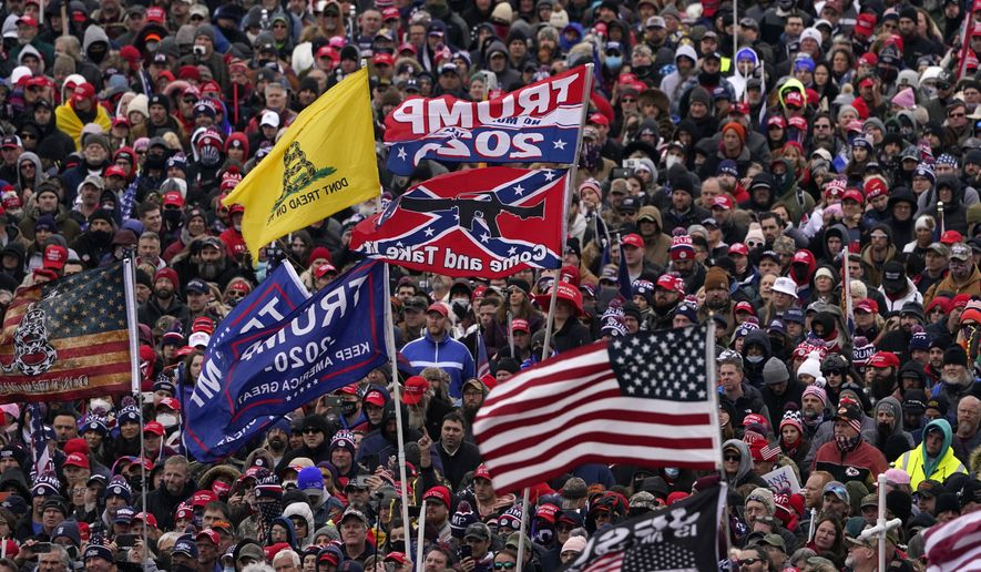 In this Jan. 6, 2021, file photo, people listen as President Donald Trump speaks during a rally in Washington. (AP Photo/Evan Vucci, File)