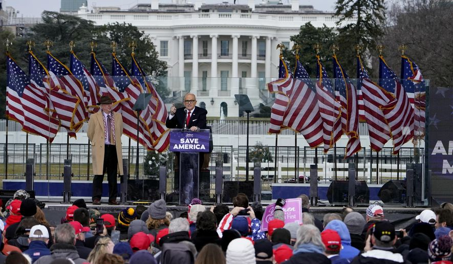 """Former New York City Mayor Rudy Giuliani speaks Wednesday, Jan. 6, 2021, in Washington, at a rally in support of President Donald Trump called the """"Save America Rally."""" (AP Photo/Jacquelyn Martin) ** FILE **"""
