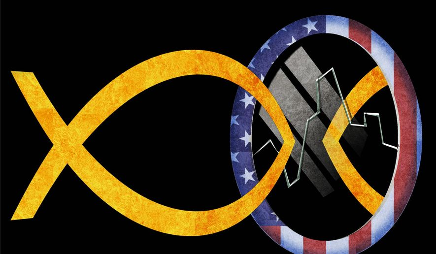 Illustration on the current state of Christian leadership by Alexander Hunter/The Washington Times