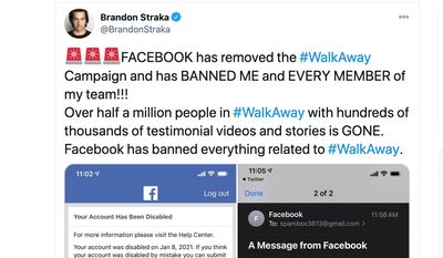 """""""Walk Away"""" founder Brandon Straka has been banned by Facebook along with 500,000-strong group. (Image: Twitter, Brandon Straka)"""