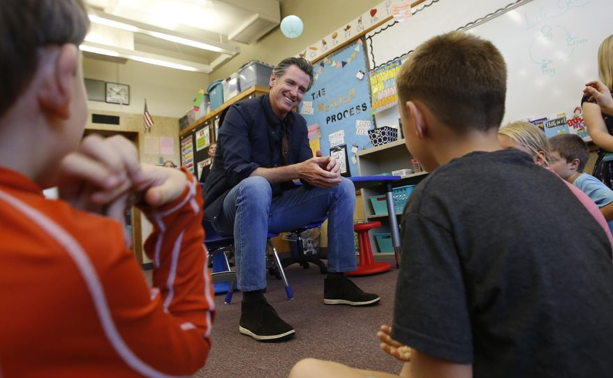 FILE - In this Aug. 21, 2019 file photo Gov. Gavin Newsom takes questions from second graders during his visit to the Paradise Ridge Elementary School in Paradise, Calif. Newsom is scheduled to unveil his 2021-22 proposed budget on Friday Jan. 8, 2021. Newsom's budget will include at least $2 billion to help schools with testing, increased ventilation and personal protective equipment. (AP Photo/Rich Pedroncelli, Pool, File)