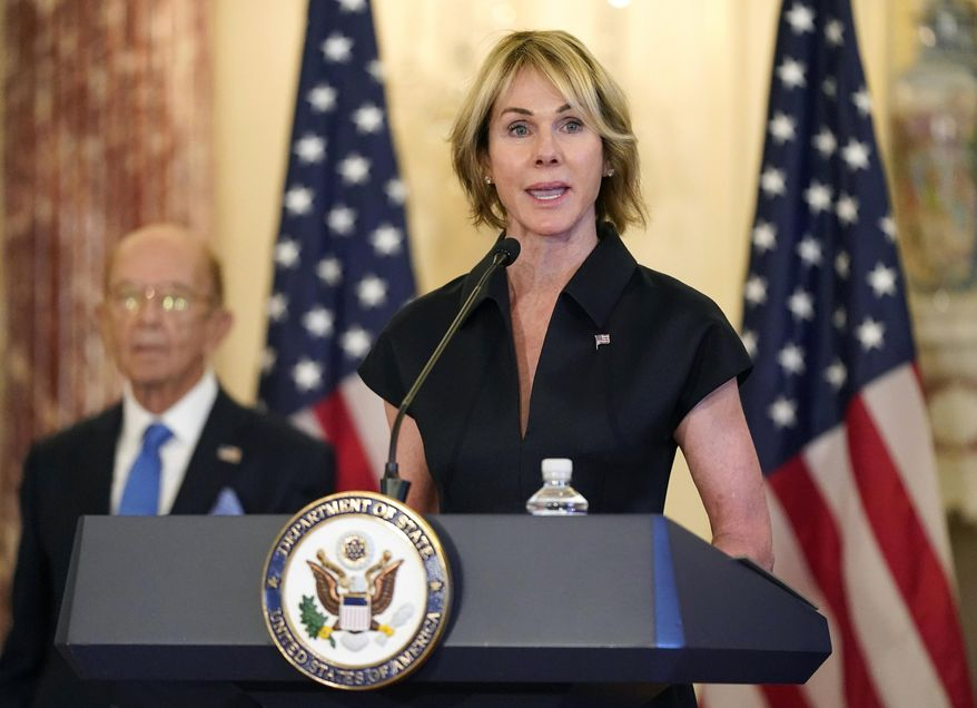 In this Sept. 21, 2020, file photo, U.S. Ambassador to the United Nations Kelly Craft speaks during a news conference at the U.S. State Department in Washington. According to the United States Mission to the United Nations, Craft will travel to Taipei Jan. 13-15, 2021, for meetings with senior Taiwanese counterparts and members of the diplomatic community in order to bolster relations and show continued support with the island. (AP Photo/Patrick Semansky, File)  **FILE**