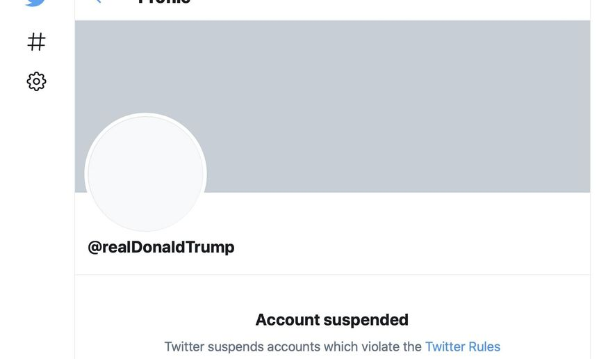 "This Friday, Jan. 8, 2021, image shows the suspended Twitter account of President Donald Trump. On Friday, the social media company permanently suspended Trump from its platform, citing ""risk of further incitement of violence."" (AP Photo)"