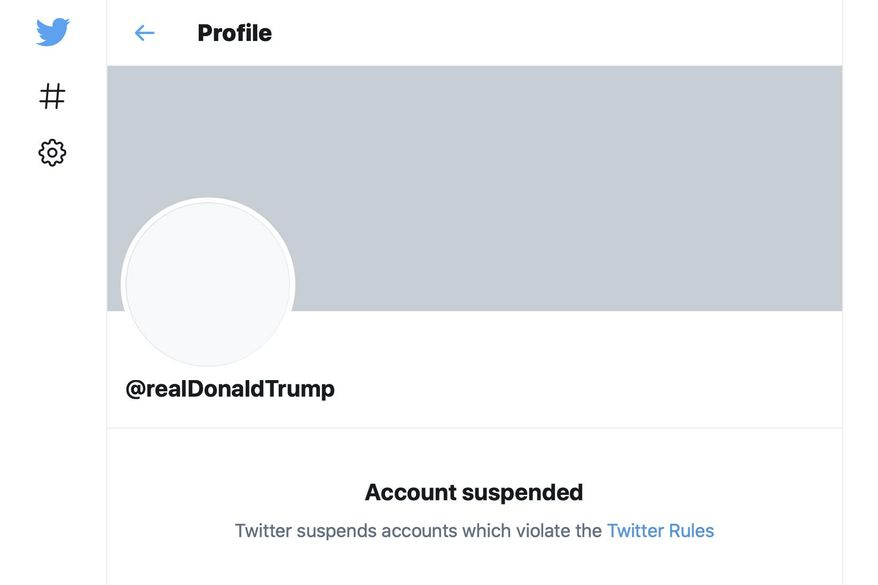 """This Friday, Jan. 8, 2021, image shows the suspended Twitter account of President Donald Trump. On Friday, the social media company permanently suspended Trump from its platform, citing """"risk of further incitement of violence."""" (AP Photo)"""