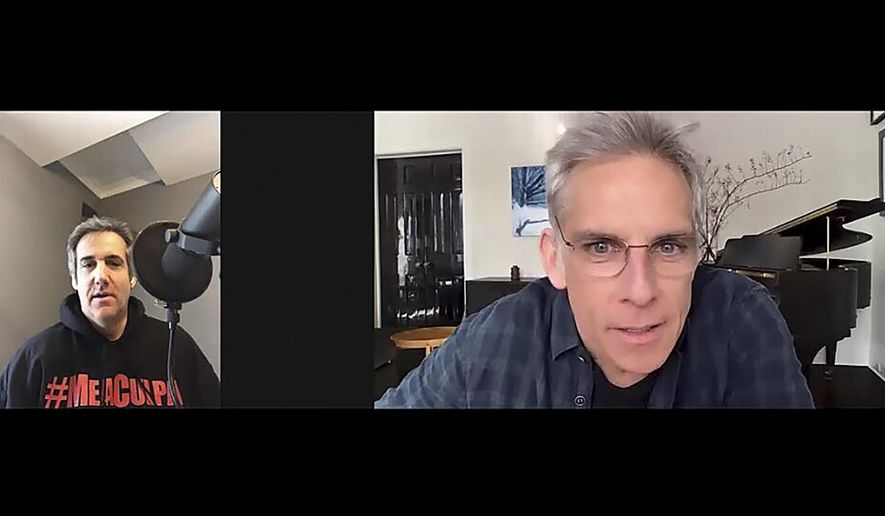 """In this video frame grab provided by Michael Cohen, Cohen, left, interviews actor Ben Stiller for his podcast """"Mea Culpa"""", in New York. Cohen says his new podcast """"Mea Culpa"""" is changing the minds of listeners who supported President Donald Trump. The president's former lawyer and fixer is producing the podcast from his Manhattan apartment even as he serves the remainder of his prison sentence on home confinement. (Michael Cohen via AP)"""