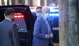 President-elect Joe Biden arrives at The Queen Theater in Wilmington, Del., Sunday, Jan. 10, 2021. (AP Photo/Susan Walsh) **FILE**