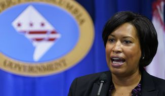 In this Wednesday, Nov. 4, 2020, file photo, District of Columbia Mayor Muriel Bowser speaks during a news conference in Washington. (AP Photo/Susan Walsh) ** FILE **