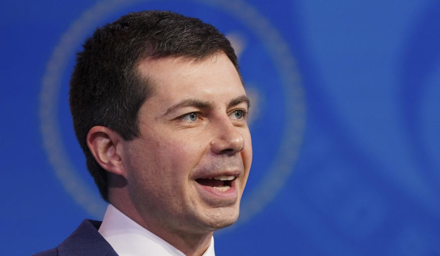 In this Dec. 16, 2020, file photo President-elect Joe Biden's nominee for Transportation Secretary former South Bend, Ind., Mayor Pete Buttigieg, President-elect speaks during a news conference at The Queen theater in Wilmington, Del. (Kevin Lamarque/Pool via AP, File)