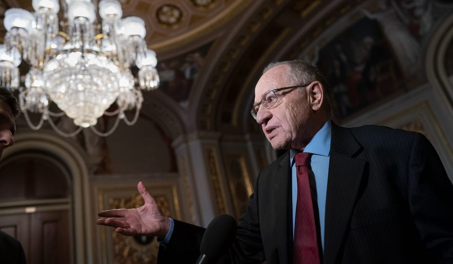 "Alan Dershowitz, a Harvard Law School professor emeritus, said that the impeachment process ""will not go to trial."" Mr. Dershowitz cites Senate rules and the Constitution in his advisement. (Associated Press)"