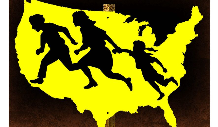 Illustration on expanded illegal immigration by Alexander Hunter/The Washington Times