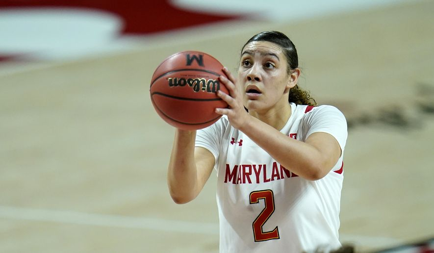 Maryland forward Mimi Collins shoots a basket against Indiana during the first half of an NCAA college basketball game, Monday, Jan. 4, 2021, in College Park, Md. (AP Photo/Julio Cortez) **FILE**