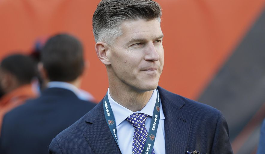 FILE - Chicago Bears general manager Ryan Pace walks the field before an NFL football game against the Green Bay Packers in Chicago, in this Thursday, Sept. 5, 2019, file photo. The Bears head into the offseason with some big issues to address after going 8-8 for the second year in a row, starting with whether general manager Ryan Pace or coach Matt Nagy will be retained. (AP Photo/Charles Rex Arbogast, File)