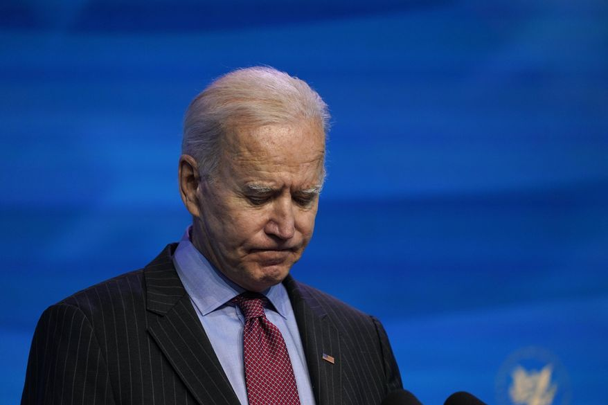 In this Jan. 8, 2021, file photo President-elect Joe Biden speaks during an event at The Queen theater in Wilmington, Del. When Biden takes office later this month, his biggest challenge may be navigating a deeply divided country past the turmoil of the Trump era. (AP Photo/Susan Walsh, File)
