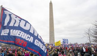 With the Washington Monument in the background, people attend a rally in support of President Donald Trump on Wednesday, Jan. 6, 2021, in Washington. (AP Photo/Jose Luis Magana) **FILE**