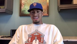 In this screen grab taken from video, Major League baseball player Francisco Lindor answers questions during a virtual press conference introducing him as the New York Mets new shortstop, Monday, Jan. 11, 2021, in New York. (New York Mets via AP)