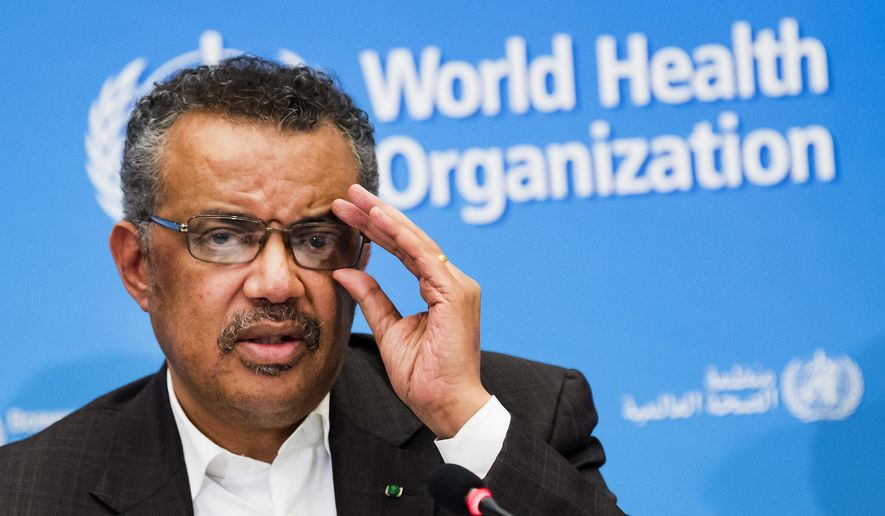 In this Jan. 30, 2020, file photo, Tedros Adhanom Ghebreyesus, director-general of the World Health Organization (WHO), talks to the media at the World Health Organization headquarters in Geneva, Switzerland. (Jean-Christophe Bott/Keystone via AP, File)