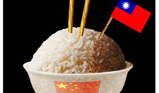 Illustration on peril to Taiwan by Alexander Hunter/The Washington Times