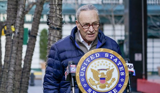 Senate Minority Leader Chuck Schumer, D-N.Y., speaks to reporters during a news conference, Tuesday, Jan. 12, 2021, in New York. (AP Photo/Mary Altaffer) **FILE**