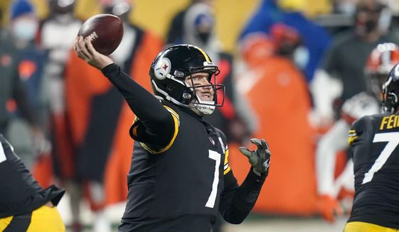 Pittsburgh Steelers quarterback Ben Roethlisberger (7) throws a pass during the first half of an NFL wild-card playoff football game against the Cleveland Browns, Sunday, Jan. 10, 2021, in Pittsburgh. (AP Photo/Keith Srakocic) **FILE**