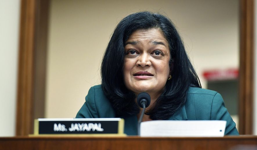 In this July 29, 2020 file photo, Rep. Pramila Jayapal, D-Wash., speaks during a House Judiciary subcommittee on antitrust on Capitol Hill in Washington. (Mandel Ngan/Pool via AP, File)