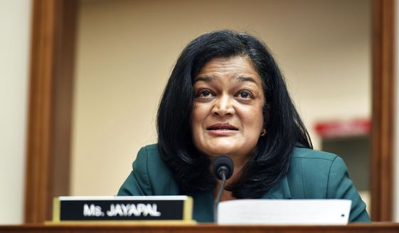 Rep. Pramila Jayapal, D-Wash., speaks during a House Judiciary subcommittee on antitrust on Capitol Hill on Wednesday, July 29, 2020, in Washington. (Mandel Ngan/Pool via AP) ** FILE **