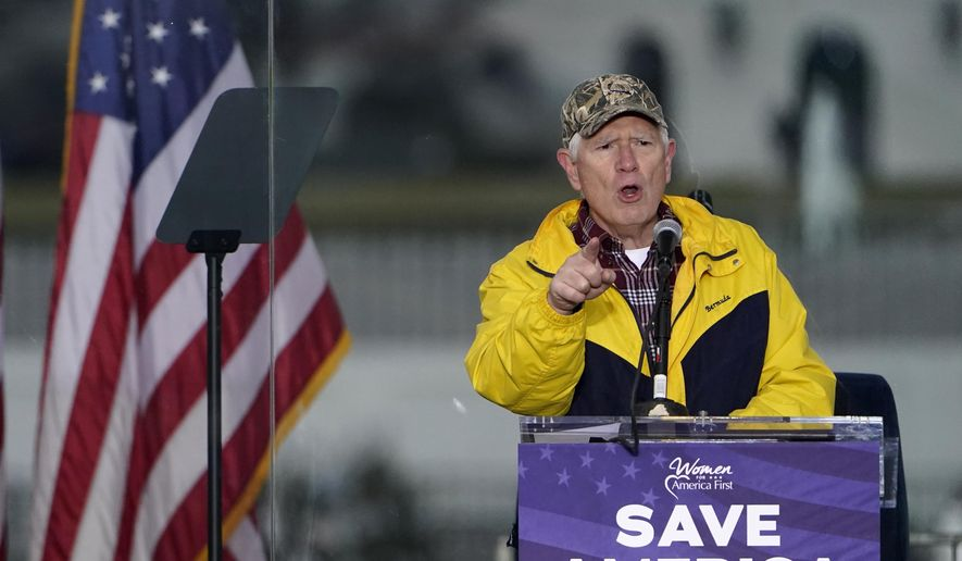 "Rep. Mo Brooks, R-Ark., speaks Wednesday, Jan. 6, 2021, in Washington, at a rally in support of President Donald Trump called the ""Save America Rally."" (AP Photo/Jacquelyn Martin)"