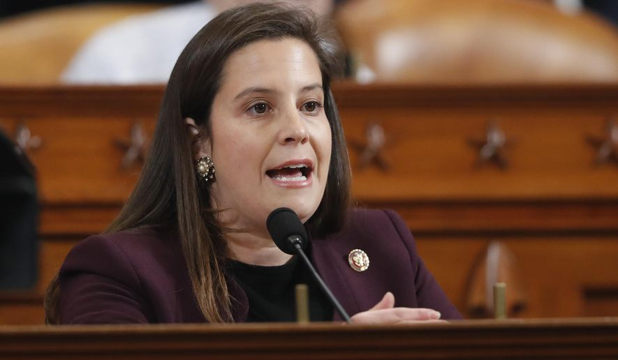 In this Nov. 21, 2019 file photo, Rep. Elise Stefanik, R-N.Y., asks questions during a public impeachment hearing in Washington regarding President Donald Trump's efforts to tie U.S. aid for Ukraine to investigations of his political opponents. Stefanik has been removed from a panel at Harvard University for making comments that perpetuated Trump's baseless claims of widespread voter fraud, the school announced Tuesday, Jan. 12, 2021. (AP Photo/Andrew Harnik, File)