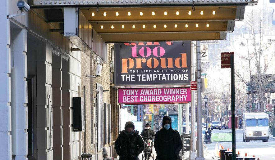 Pedestrians walk past closed Theatres, Sunday, Jan. 10, 2021, in the Hell's Kitchen neighborhood of New York.  (AP Photo/Mary Altaffer)  **FILE**