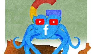 illustration on the social media octopus and censorship by Alexander Hunter/The Washington Times