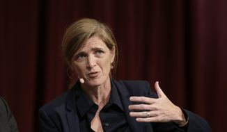 In this Oct. 16, 2017, file photo, Harvard professor Samantha Power, former U.S. ambassador to the United Nations, addresses an audience at a forum on the campus of Harvard University, in Cambridge, Mass. President-elect Joe Biden has selected Power to run the U.S. Agency for International Development. (AP Photo/Steven Senne)