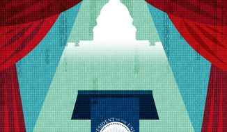 Illustration on the prospect of a virtual inauguration by Linas Garsys/The Washington times