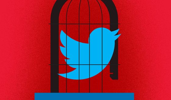 Illustration on banning Trump from Facebook and Twitter by Linas Garsys/The Washington Times
