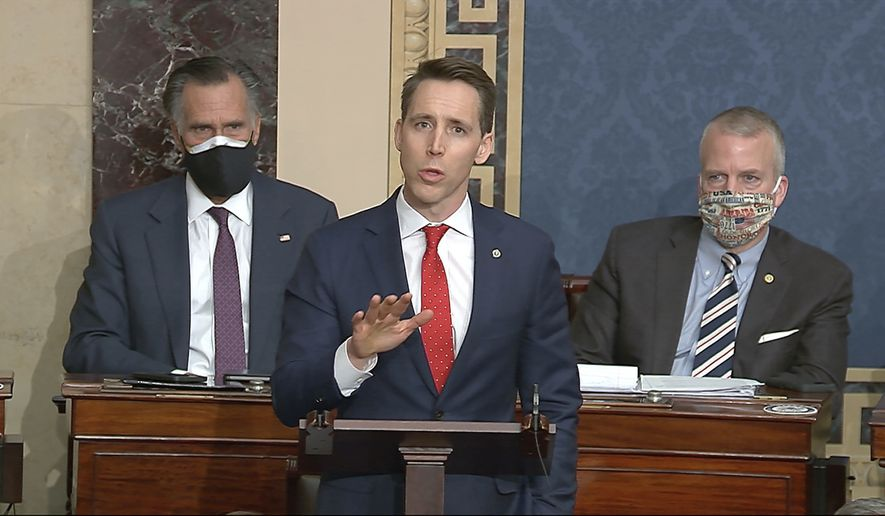 In this Jan. 6, 2021 file image from video, Sen. Josh Hawley, R-Mo., speaks at the U.S. Capitol in Washington. (Senate Television via AP File)  **FILE**