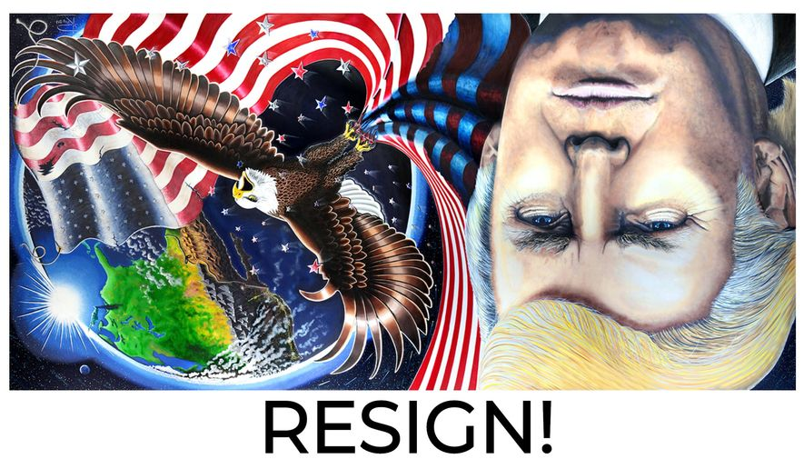 Depicted is a Donald Trump portrait painted by artist Julian Raven that has inverted with a messaged calling for the president's resignation. Mr. Raven, an artist who once strongly supported President Trump, says the 45th President of the United States should resign from his office in light of the Jan. 6, 2021 mob attack on the U.S. Capitol. (Image courtesy Julian Raven)