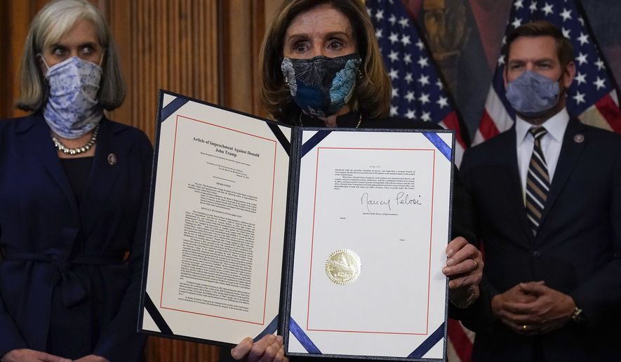 House Speaker Nancy Pelosi of Calif., displays the signed article of impeachment against President Donald Trump in an engrossment ceremony before transmission to the Senate for trial on Capitol Hill, in Washington, Wednesday, Jan. 13, 2021. (AP Photo/Alex Brandon) **FILE**